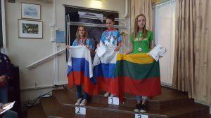 Призёры соревнований в спринте (группа Ж14): Чамина Дарья (Россия), Добрышкина Анастасия (Россия), Migle Sarpilo (Литва)