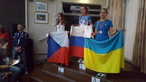 Призёры соревнований в спринте (группа Ж16): Trpakova Daniela (Чехия), Садофьева Евдокия (Россия), Тыха Лилия (Украина)