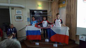 Призёры соревнований в спринте (группа М14): Спектор Илья (Россия), Jurcik Tomas (Словакия), Svatek Samuel (Чехия)